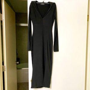 Missguided Black Long Sleeve Elegant Dress